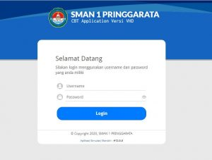 Foto 1 : Tampilan laman login CBT Application Versi VHD