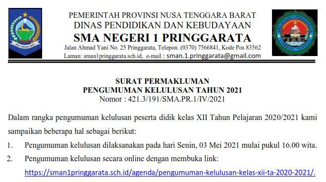 Kelulusan Peserta Didik TA. 2020/2021